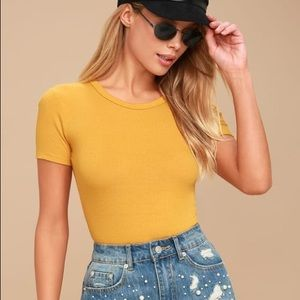 Lulu's Ribbed Short Sleeve Bodysuit Mustard Yellow